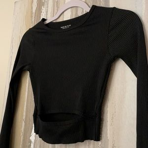 Urban outfitters black ribbed cut out long sleeve